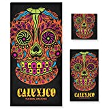 LUPINZ Calexico-Happy Skull - Juego de toallas de mano y toalla de baño (3 piezas)