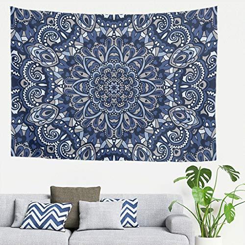 DAMKELLY Store Tapisserie Mandela géométrique Bleu Vintage Art Mandela Couvre-lit de plage pour chambre à coucher Blanc 59 x 51 cm