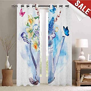 Hengshu Daffodil Room Darkening Wide Curtains Summer Bouquet with Violets Puss-Willows and Butterflies in Old Fashion Watering Can Decor Curtains by W108 x L108 Inch Multi