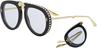 40a58fff3 Gucci GG 0307S 002 Foldable Black Plastic Aviator Sunglasses Light Blue Lens