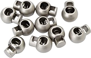 JEATHA 10 Pack Metal Single Hole Spring Loaded Elastic Drawstring Rope Cord Locks Clip Ends Round Ball Shape Luggage Lanya...