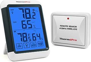 ThermoPro TP65 Termómetro Higrómetro Digital para Interior y Exterior Medidor de Humedad y Temperatura Inalámbrico con Pantalla Táctil Grande y Retroiluminación