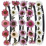 Stirnband Blumen, ZWOOS 5 Stück Stirnbänder Krone Haarband Kopfband Blume Haarbänder mit Elastischem Band für Hochzeit und Party(#5)