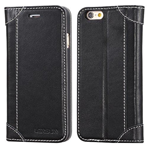 LENSUN iPhone 6 Hülle iPhone 6s Hülle, Handyhülle Handytasche iPhone 6 / 6s Leder Huelle Tasche Flip Case Ledertasche Schutzhülle - Schwarz