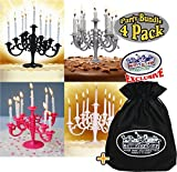 Candelabra Cake Topper Candle Holders Silver, Black, White & Pink Gift Set Party Bundle with Exclusive Matty's Toy Stop Storage Bag - 4 Pack