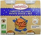 Babybio Pots Carotte des Landes Patate Douce/Blé 400 g - Lot de 6