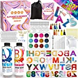 Graceduck Alphabet Epoxy Resin Silicone Molds - Number Letter Necklace Key Chain Earring Jewelry Making Kit Casting DIY Craft Supplies Tools with Keychain Ring Glitter and Accessories Christmas Gift…