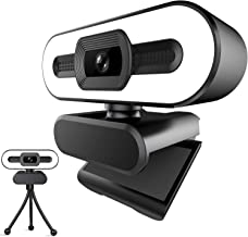 1080P Webcam with Ring Light and Microphone,Advanced Auto Focus,Adjustable Brightness,PC Webcam for Streaming,Computer Web...