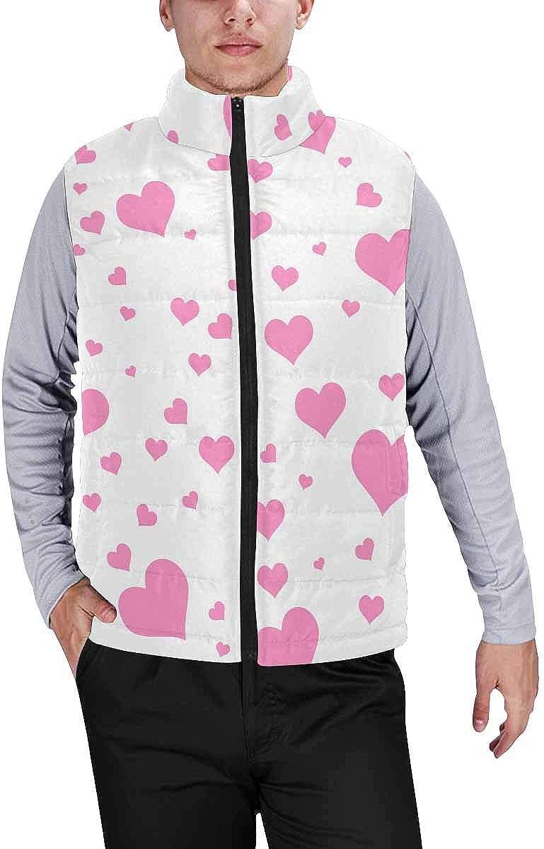 InterestPrint Men's Full-Zip Soft Warm Winter Outwear Vest Pink and White Flamingos