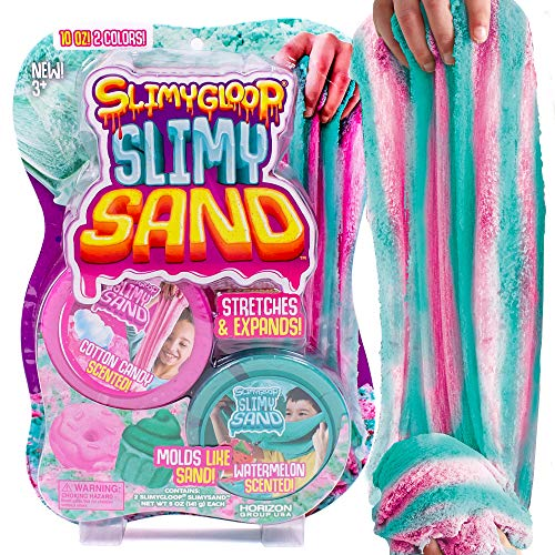 SLIMYSAND Twist - Teal/Pink Scented Stretchy Cloud Slime, Cotton Candy & Watermelon, Stretchable, Moldable, Play Sand, 10oz.Great for Tactile Fun