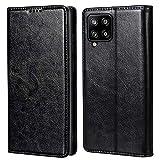MInCYB Handyhülle für Galaxy A42 5G Hülle, [Kabelloses Laden] Premium Leder Flip Hülle Cover Schutzhülle für Samsung A42 5G Tasche, Schwarz