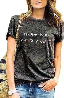 تي شيرت Friends TV Show T Shirt Teen Girl Women Long Sleeve Graphic Tee Tops How You Doin Funny Shirts