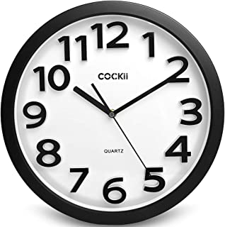 Cockii Large Number Wall Clock,13 Inch Silent Non-Ticking Quartz Decorative Round Clock, Battery Operated, Easy to Read for Home, Office, School(Black)