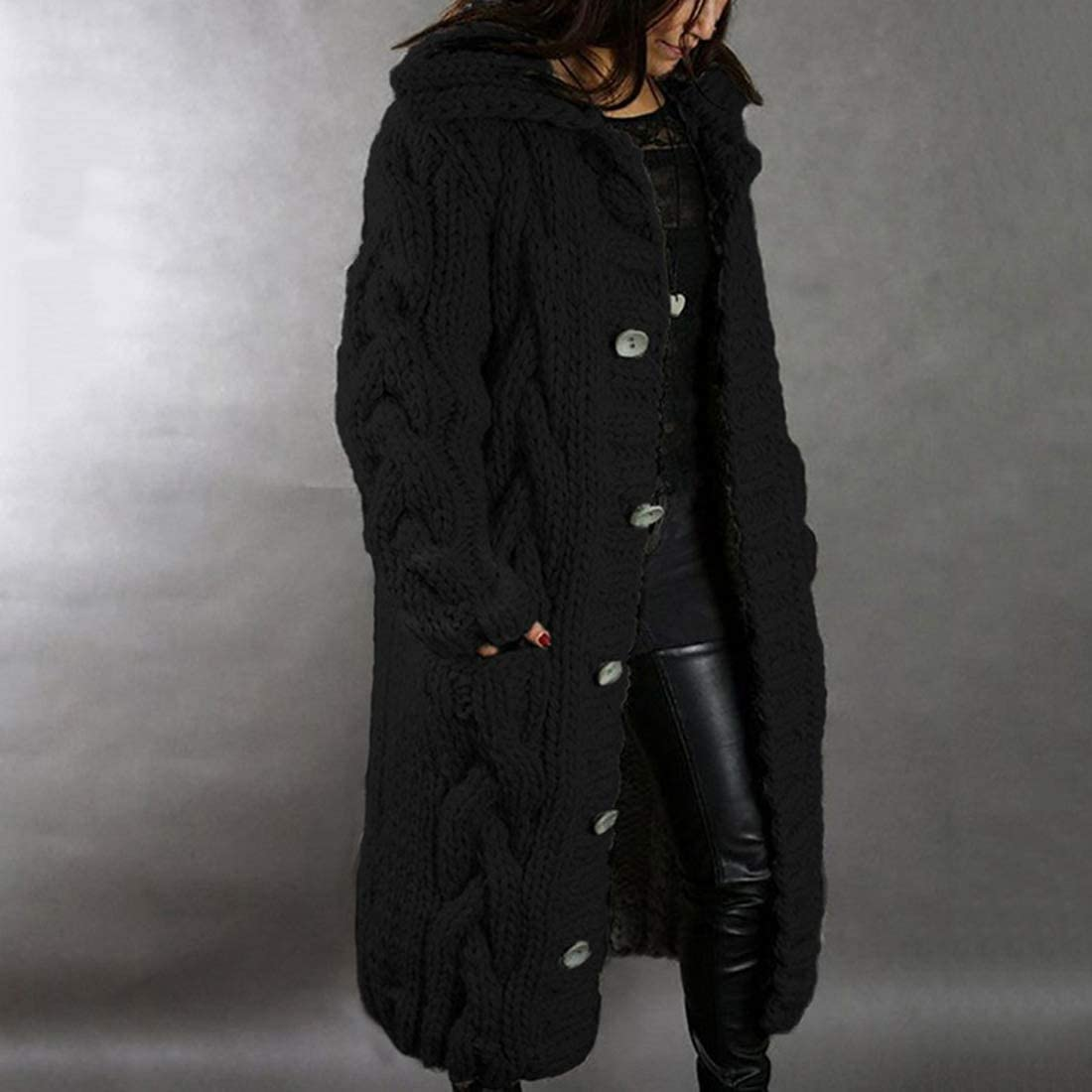 MoneRffi Damen Lang Strickjacke Cardigans Strickmantel Coat Lässige Warmer Freizeitmantel Wollmantel Offene mit Taschen Outwear Winter C-Schwarz