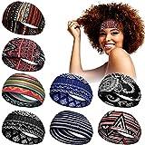 8 Pieces African Headband Stretchy Boho Print Head Band Yoga Sports Workout Hairband Elastic Turban Headwrap Head Wear for Women Girls Hair Accessories (Classic Pattern)