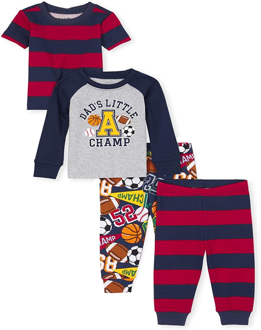 The Children's Place Baby and Toddler Boys Sports Snug Fit Cotton 4-Piece Pajamas