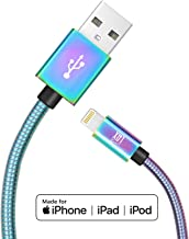 LAX iPhone Charger Lightning Cable - MFi Certified Lightning to Mesh USB Cord (4ft) Compatible with Latest iOS Including iPhone XR/X/8/8Plus/ 7/7Plus/IPad Pro (Iridescent Chrome)