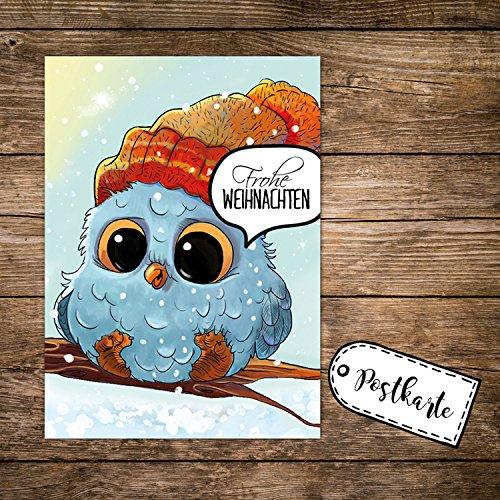 ilka parey wandtattoo-welt A6 Weihnachtskarte mit Eule Eulchen auf Zweig Postkarte Print & Spruch Frohe Weihnachten pk132