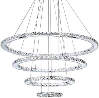 72W LED Kaltweiß Deckenlampe Deckenleuchte 3 Ring Kristall Hängelampe Wohnzimmer