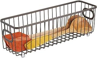 mDesign panier de rangement en métal – boîte en métal flexible pour la cuisine, le garde-manger, etc. – panier en métal co...