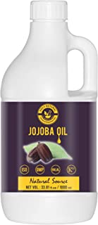 100% Natural Jojoba Oil (33.81 fl oz/ 1000 ml), 100% Pure & Natural, Virgin Cold Pressed, Helps To Retain Moisture in the ...