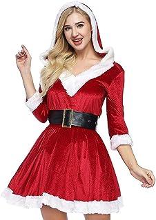 FONXOS Conjuntos de lencería de Mujer Disfraz de Santa Baby Disfraz de Santa Conjunto de Traje de Santa Claus Disfraz para Año Nuevo Cosplay