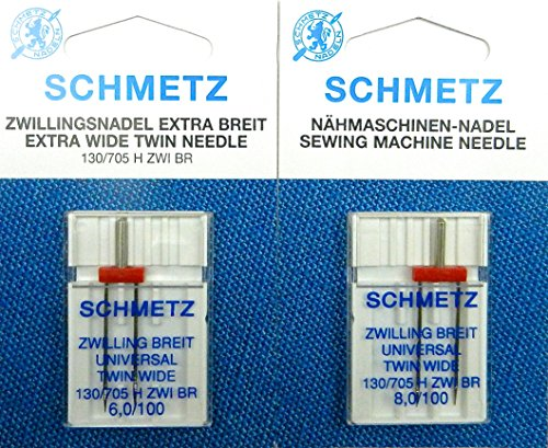 SCHMETZ Surtido de 2 agujas dobles universales (extra anchas) 130/705, pistón plano St. 8,0/100 + 6,0/100