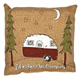 """The Country House Collection Primitive Funny Burlap Jute Brown and Black 8"""" x 8"""" Throw Pillow (I'd Rather Be Camping)"""