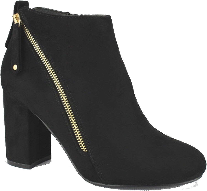 Nature Breeze Womens FF47 Block Heel Ankle Booties (9 B(M) US, Black Suede)