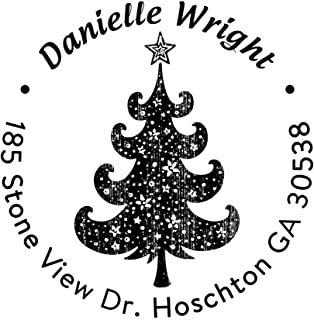 Custom Christmas Trees Star Address Stamp Personalized Self Inking Rubber Stamper