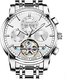 Aesop Fashion Business Skeleton Men Day Date Analog Automatic Self Winding Mechanical Wrist Watch with Steel Band Luminous Silver White