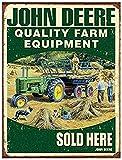 John Deere Farm Equipment Affiche Étain Métal Mur Signe Vintage Plaque Rétro Attention Décorative Métallique Panneau pour Café Bar Chambre Hôtels Clubs Parc