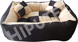 Hiputee Ultra Soft Rectangular Reversible Bed for Dog and Cat with 2 Extra Pillows (Small, Black Cream)