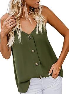 98122b962d60bb Durio Top Damen Sexy Tank Top Damen Sommertop Spaghetti Top Ärmellose Bluse  V-Ausschnitt Shirt