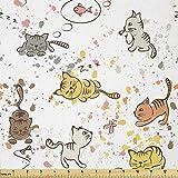 Lunarable Katzenstoff von The Yard, lustige Katzen,