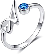 WINNICACA 925 Sterling Silver Adjustable Blue AAA Cubic Zirconia 26 Alphabet Initial Letter Rings Personalized Jewelry Gifts for Women Birthday