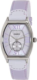 ساعة نسائية من كاسيو بمينا بيج وسوار جلدي Ltp E114L 6Adf، كوارتز، انالوج