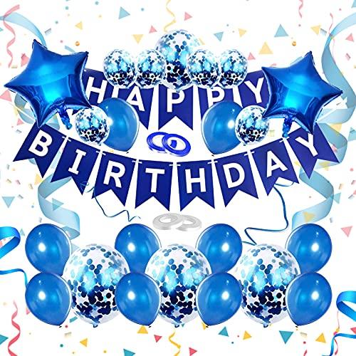 Globos Decoración Cumpleaños, Cumpleaños Decoraciones de Fiesta, Globos de Látex con Cintas Globos de Papel de Aluminio, con Banner de Feliz Cumpleaños, Fiesta de Cumpleaños para Niño Niña