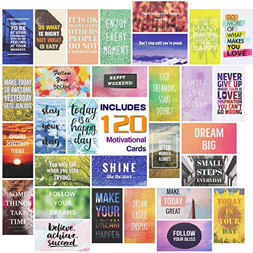 120 Pieces Assorted Motivational Quote Cards Gratitude Encouragement Card Set, 30 Styles Business Cards 2 x 3.5 Inch Mini Inspirational Kindness Note Cards for Encouraging Business Kindness Supplies