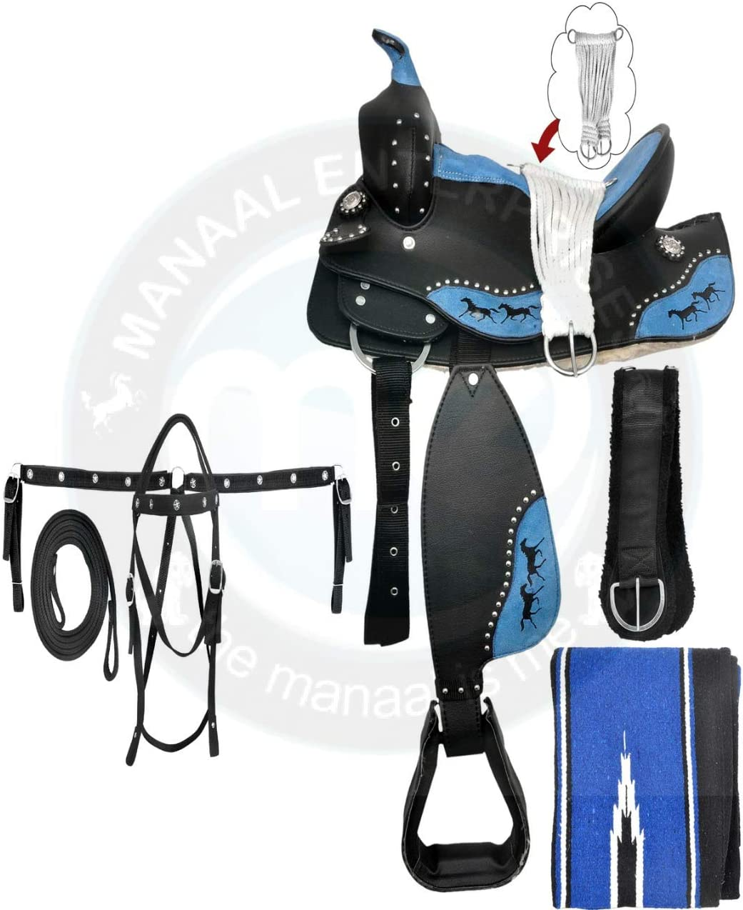 Manaal Popular Branded goods popular Enterprises Synthetic Western Adult Saddle Tack Ba Horse