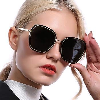 Amazon Com Rebsun Oversized Polarized Sunglasses For Women Polarized Uv Protection Designer Fashion Black Square Big Sun Glasses Black Large Clothing
