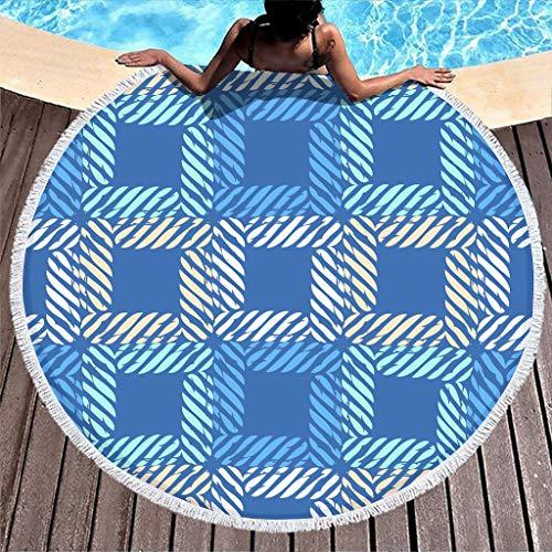 Toalla de playa redonda de tartán azul para picnic, baño, playa, vacaciones, viajes, de rizo, de secado rápido, con borlas, color blanco, 150 cm