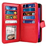 NEXTKIN Case Compatible with LG X Power 2 LV7 M320 5.5 inch, Dual Wallet Folio TPU Cover Large Pockets Double Flap, Multi Card Slots Button Strap for LG X Power 2 LV7 (NOT FIT LG X Power) - Red