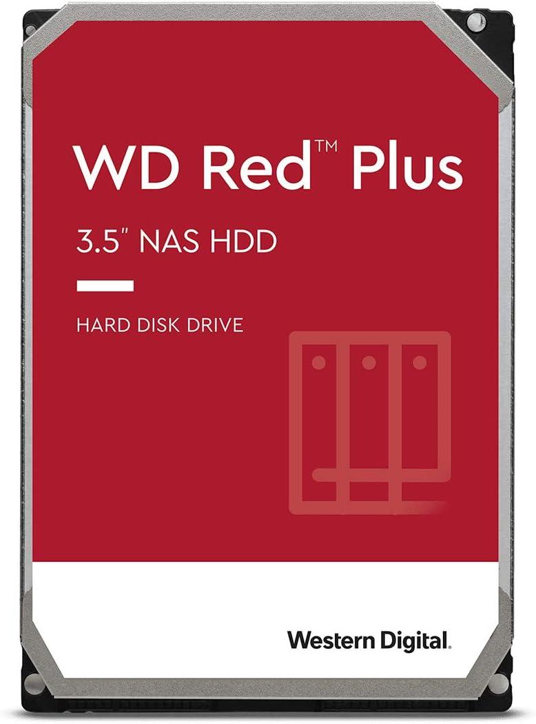 Western Digital 4TB WD Red Plus NAS Internal Hard Drive HDD - 5400 RPM, SATA 6 Gb/s, CMR, 128 MB Cache, 3.5