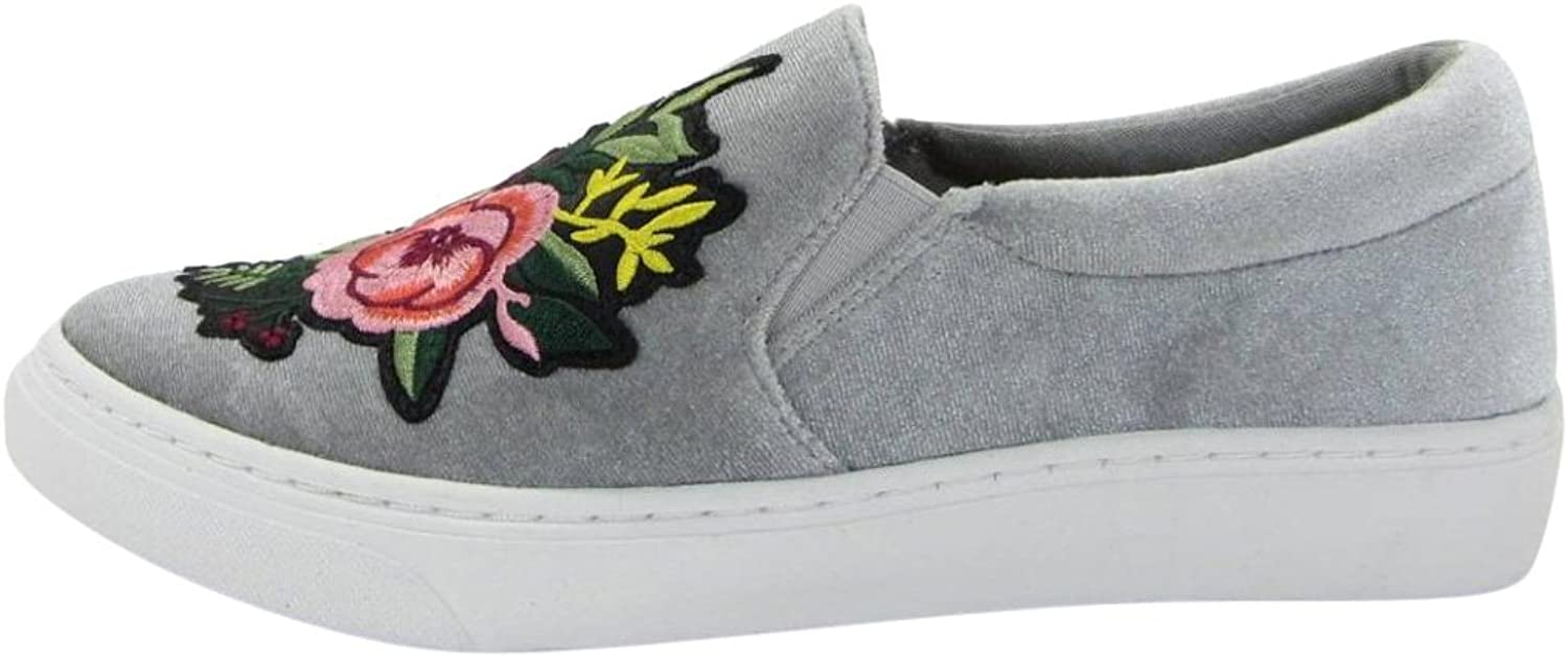 ISEYMI-SHOES IF12 Women's Floral Slip On Elastic Panel Padded Cuff Fashion Sneaker