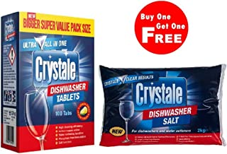 Crystale Dishwasher Tablets with Salt (2 Kg)- Pack of 100