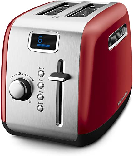 popular KitchenAid online sale outlet sale KMT222ER 2-Slice Toaster with Manual High-Lift Lever and Digital Display - Empire Red online sale