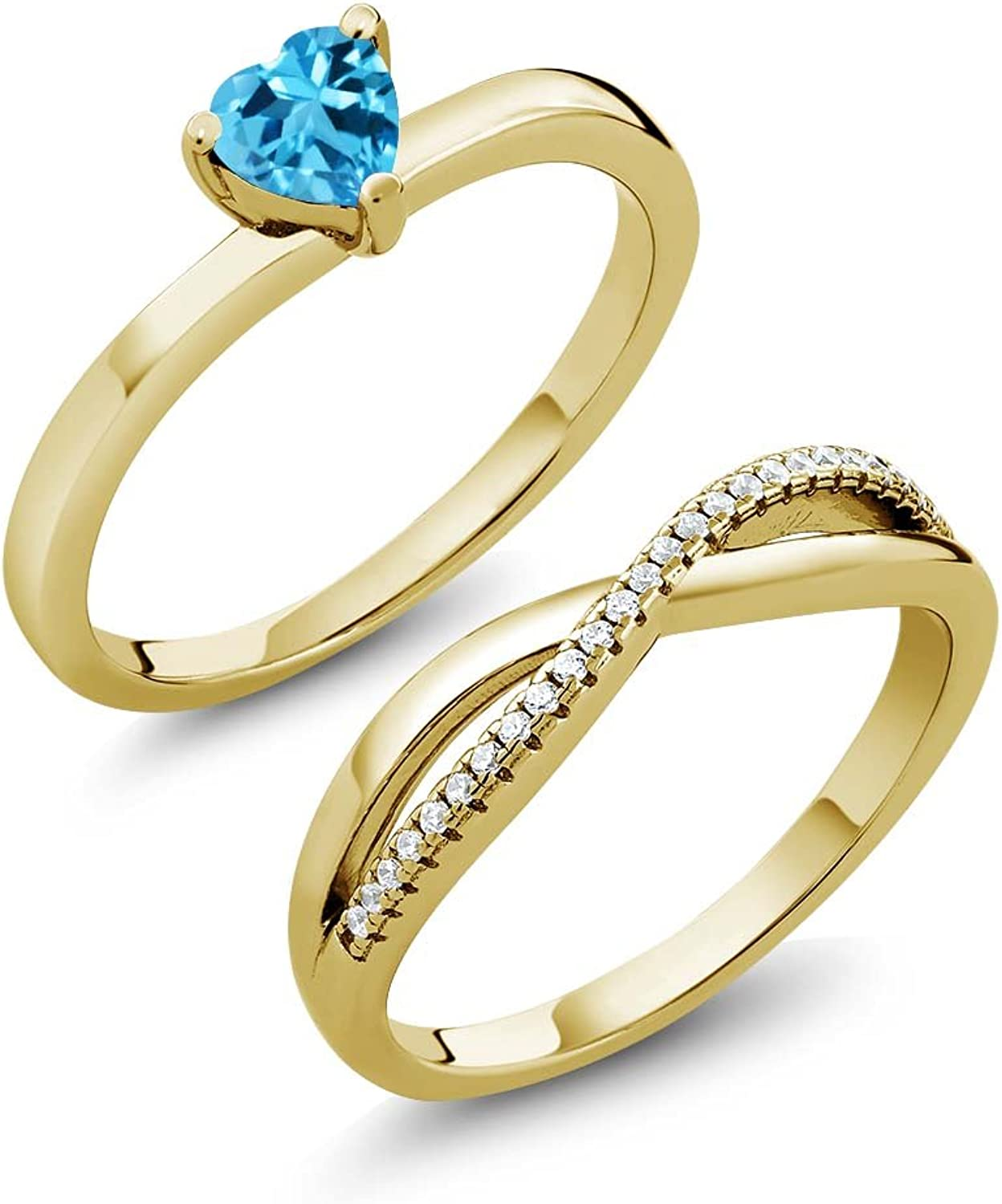 0.86 Ct Swiss bluee Topaz 18K Yellow gold Plated Silver Engagement Wedding Ring Set