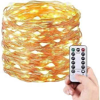 E T EASYTAO Guirnalda de luces LED 10M, USB Luces de Hadas 100Leds Impermeable, Control Remoto de 8 Modos, Alambre de Cobre para Fiesta, Navidad, Boda, Casa, Jardín etc. Blanco Cálido
