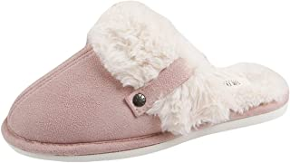 Liveinu Women's Furry Mule Slippers Indoor Non Slip Winter Memory Foam Plush Fleece Lined House Slippers